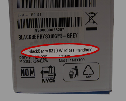 Model Number Printed on BlackBerry Box