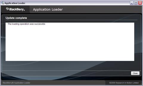 Update BlackBerry Firmware - Update Complete