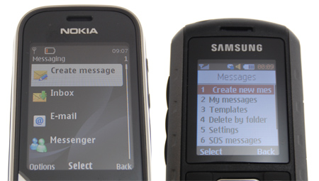 Messaging options on the 3720 Classic & Samsung Solid Extreme