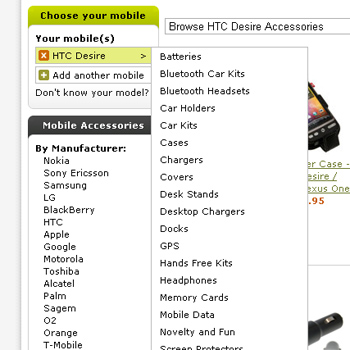Hover over your phone for a full list of accessory types