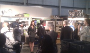 Otis, Suzy and John filming The GadgetShow at MobileFun.co.uk