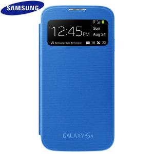 Genuine Samsung Galaxy S4 S-View Premium Cover Case - Blue