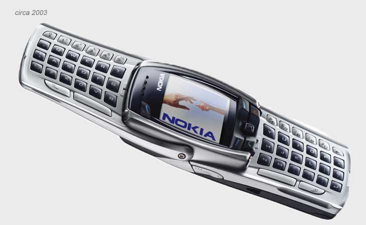 nokia keyboard phone. far too easy to mix up with your tv remote, the nokia 6800 was more keyboard than phone. phone