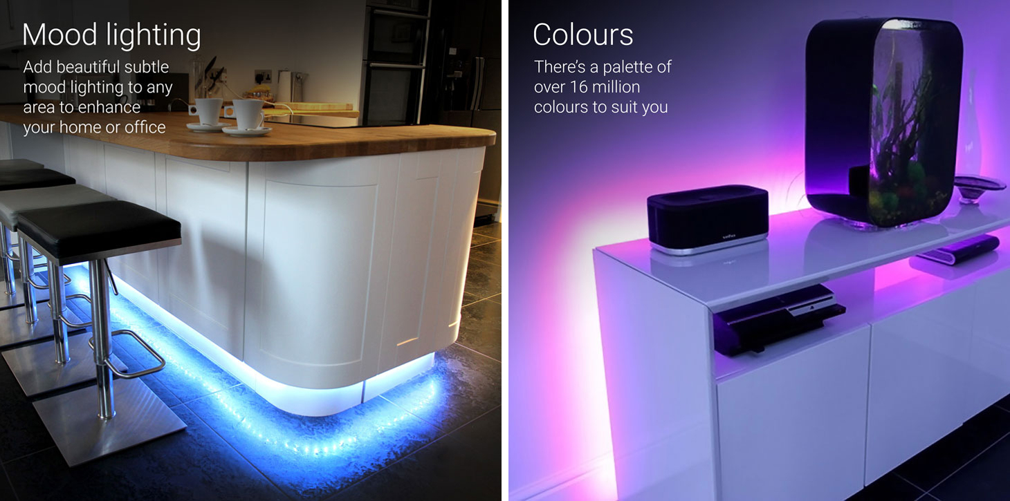 home mood lighting. this strip of smart home lighting goes further than the one we looked at earlier giving you full chromatic control from your smartphone mood