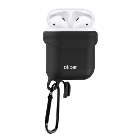 Olixar Soft Silicone Apple AirPods Waterproof Protective Case - Black