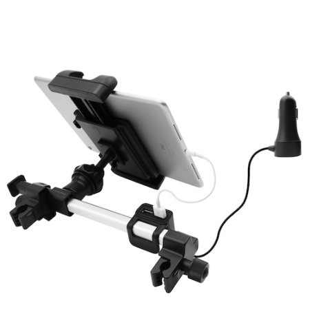Macally Car Headrest Holder For Tablet With 4 USB Charging Ports - Black